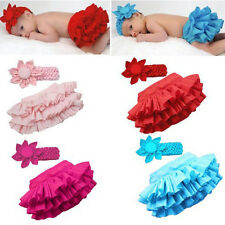 New Girls Baby outfit Ruffle Bloomers TuTu Skirt with Flower Headband sets