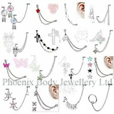 316L Dangle Chain Upper Ear Stud Helix Cartilage Earring - Choose Style