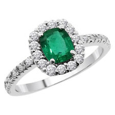 0.90 Ct Natural Cushion Cut Green Emerald and White Diamonds 14K White Gold Ring