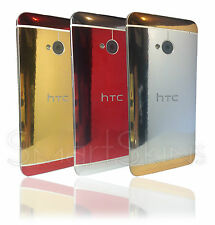 Polished Metal Two Tone Skin For HTC ONE M7 Wrap Case Decal gold silver red