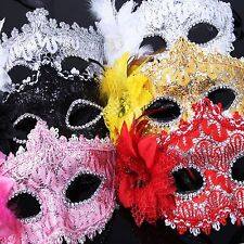 Crystal Lace Venetian Style Masquerade Mask Plastic Fancy Dress Ball Costume
