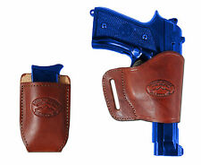 Barsony Burgundy Leather Yaqui Holster w/Mag Pouch for Colt, Browning Full Size