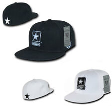 Black White Army Star Fitted Military Flat Bill Baseball Ball Cap Caps Hat Hats