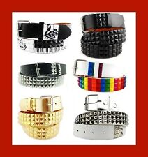 Various Unisex  3-Row Metal Pyramid Studded Leather Belt Mens Womens Punk Rock