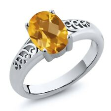1.30 Ct Oval Checkerboard Yellow Citrine 925 Sterling Silver Ring