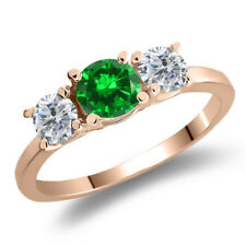 1.34 Ct Round Simulated Emerald G/H Diamond 925 Rose Gold Plated Silver Ring