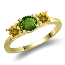 1.02 Ct Green Chrome Diopside Yellow Citrine 925 Yellow Gold Plated Silver Ring