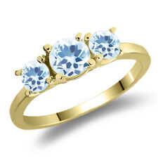 1.36 Ct Round Sky Blue Topaz 925 Yellow Gold Plated Silver Ring