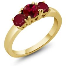 1.20 Ct Round Red Created Ruby Red Ruby 14K Yellow Gold 3-Stone Ring