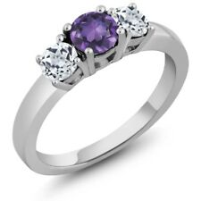 1.11 Ct Round Purple Amethyst White Topaz 14K White Gold 3-Stone Ring