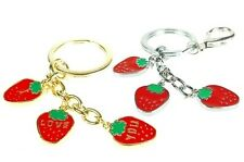 Janeo 3 Strawberry I Love You Charm Key Ring Accessory Present Gift For Her Gold
