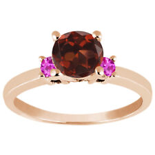 1.16 Ct Red Garnet Pink Sapphire 925 Rose Gold Plated Silver Engagement Ring