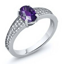 1.48 Ct Oval Checkerboard Natural Purple Amethyst 925 Sterling Silver Ring