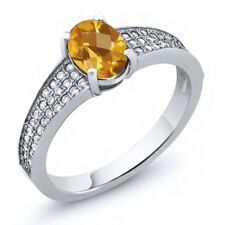 1.73 Ct Oval Checkerboard Yellow Citrine 925 Sterling Silver Ring