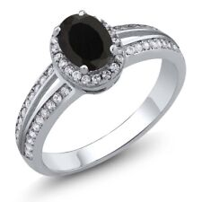 1.67 Ct Oval Natural Black Sapphire 925 Sterling Silver Ring