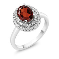 2.40 Ct Oval Red Garnet 925 Sterling Silver Ring