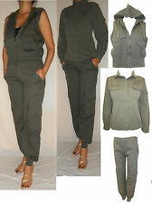 Ladies khaki cargo suits cuffed trousers+shirt+gilet hooded jacket size 8 to 10