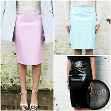 Black Vinyl PU Patent PVC Latex Plastic Midi Shiny Pencil Skirt Size 8 10 12 S M