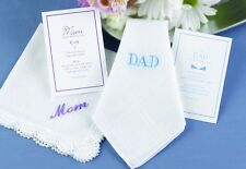 Embroidered Mom or Dad Wedding Hanky Hankie Gift Set