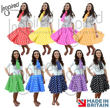1950s Polka Dot Skirt Ladies Girls Fancy Dress 50's Rock n Roll Grease Costume
