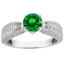 1.50 Ct Round Green VS Simulated Emerald 18K White Gold Ring