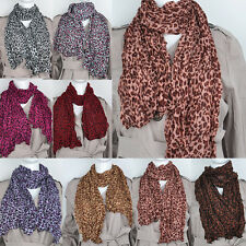 Fashion Women Ladies Soft Leopard Crinkle Shawl Scarf Long Stole