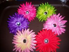 PICK ONE gerber SPIDER DAISY flower HAIR BOW rockibilly PIN UP pink RED green