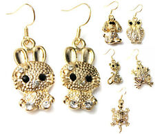 Animals with Crystals Girls Kids Cushioned CLIP ON Earrings Gold Tone UK seller