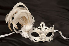 Papier Mache Feathered Venetian Masks with Silver Trim~Black or White~VANITY