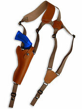 """NEW Barsony Tan Leather Vertical Shoulder Holster for Astra Beretta 6"""" Revolvers"""