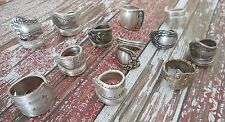 Vintage Silver Plated Hand Crafted Silverware Spoon Rings - Lot of 3