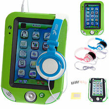 Green Leather Case with Stand + Headphones + Screen Protectors for LeapPad Ultra