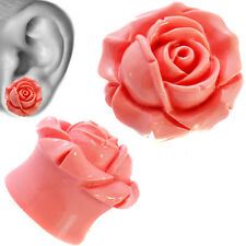 Pink Eden Rose Resin Ear Tunnel Plugs Flared