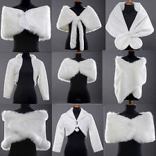 Ivory Faux Fur Wrap Shrug Bolero Coat Bridal wedding Shawl jacket cape hot sale