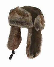 Polar Expedition Brown Leather Trapper Hat Faux Fur Russian Hunting Warm Winter