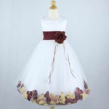 IVORY WHITE BURGUNDY Flower Girl Dress Petals Wedding Formal Recital Birthday