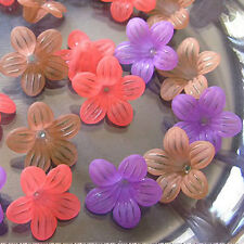 Acrylic Flower Beads, Mixed Matte Colors, 25mm x 10mm