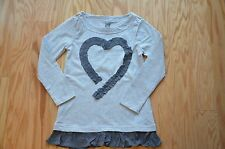 Girl Long Sleeve Shirt (Ivory, Gray)  - My heart will always be with you