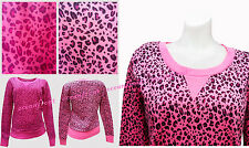 NEW Cute Pink Leopard Animal Print Crewneck Sweatshirt S M L Cozy Sweater Jacket