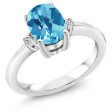 1.34 Ct Oval Checkerboard Swiss Blue Topaz White Topaz 925 Sterling Silver Ring