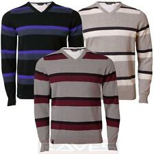 Mens Jumper Dissident 1A 2705 Knitwear Block Stripes V Neck Sweater Pullover