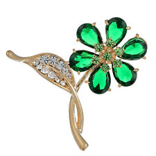 Janeo 6 Leaf Clover Brooch Pin Swarovski Crystal Elements Christmas Jewelry Gift