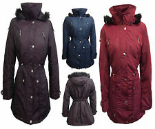 NEW WOMENS Ladies PLUM/BLUE Quilted Hooded Parka Winter Jacket Coat SIZE 10-28