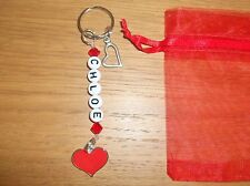 HEART PERSONALISED KEYRING ~ BAG NAME TAG CHARM ~ RED LOVE ~ SWAROVSKI BEADS