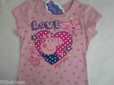PEPPA PIG Girl licensed short sleeve s/s t tee top shirt pink cotton sizes 1-6