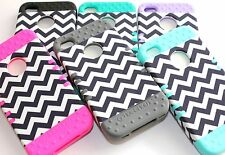 For iPhone 4 4S - Hard & Soft Rubber Hybrid High Impact Skin Case Cover CHEVRON
