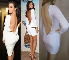 GORGEOUS WHITE BACKLESS OPEN COWL LOW BACK COUTURE MINI DRESS SIZE 6 8 10 12