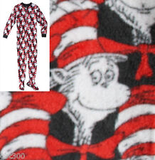 Adult FOOTED Fleece Pajamas CAT IN THE HAT Dr. Seuss Footsie Footie