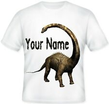 * Kids Child's Sublimation Personalised Diplodocus Dinosaur T Shirt Great Gift *
