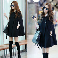 Fashion Womens Batwing Cape Wool Poncho Coat Jacket Lady Winter Black Cloak Coat